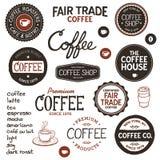 葡萄酒咖啡标签和字法 免版税库存照片