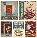 葡萄酒咖啡海报和金属符号 免版税图库摄影