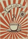 葡萄酒咖啡海报模板 免版税库存照片