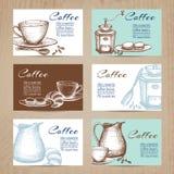 葡萄酒咖啡被设置的卡片横幅 免版税库存照片