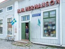 葡萄酒商店在哈帕兰达,瑞典 免版税库存照片