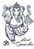 葡萄酒图表样式阁下Ganesha 优质传染媒介例证,纹身花刺艺术,瑜伽,印地安人,温泉,宗教, boho设计 免版税库存图片