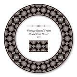 葡萄酒圆的减速火箭的框架黑色白色圆的发怒花 免版税库存图片