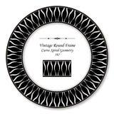 葡萄酒圆的减速火箭的框架黑色白色曲线螺旋十字架geometr 免版税库存图片