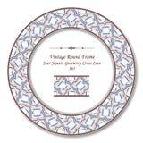 葡萄酒圆的减速火箭的框架395星方形的几何十字架线 向量例证
