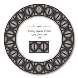 葡萄酒圆的减速火箭的框架189灰色曲线线 免版税库存照片