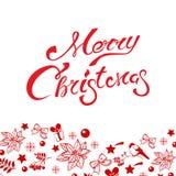 葡萄酒圣诞快乐和新年快乐拟订与雪花,一品红花的模板 寒假元素 库存图片