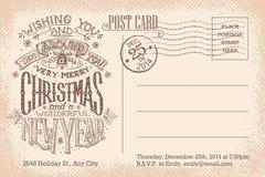 葡萄酒圣诞快乐和新年假日明信片 免版税库存照片