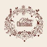 葡萄酒圣诞快乐文本和槲寄生设计EPS10文件。 免版税库存图片