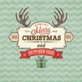 葡萄酒圣诞快乐看板卡 免版税库存图片