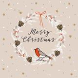 葡萄酒圣诞快乐,新年快乐贺卡,邀请 花圈由常青分支,莓果,雀科鸟做成 免版税库存图片