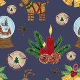 葡萄酒圣诞派对样式水彩圣诞装饰的树胶水彩画颜料例证 向量例证