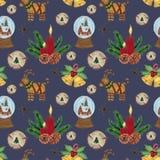 葡萄酒圣诞派对样式水彩圣诞装饰的树胶水彩画颜料例证 皇族释放例证