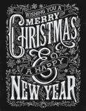 葡萄酒圣诞节和新年黑板印刷术锁住 库存照片
