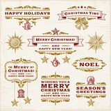 葡萄酒圣诞节标签 免版税库存照片