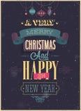 葡萄酒圣诞节海报。 免版税库存照片