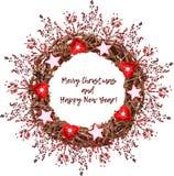 葡萄酒圣诞节花圈由分支做成 免版税库存图片