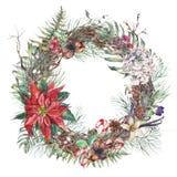 葡萄酒圣诞节花圈,新年装饰 库存例证