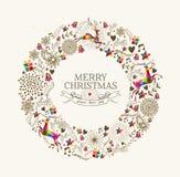 葡萄酒圣诞节花圈贺卡 免版税库存图片