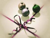 葡萄酒圣诞节装饰 免版税库存照片