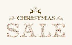 葡萄酒圣诞节销售季节五颜六色的驯鹿海报设计 库存图片