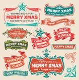 葡萄酒圣诞节集合 免版税库存照片