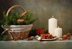 葡萄酒圣诞节静物画 免版税库存照片