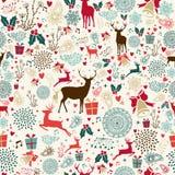 葡萄酒圣诞节驯鹿无缝的样式 免版税库存图片