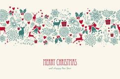 葡萄酒圣诞节驯鹿无缝的样式backgr 免版税图库摄影