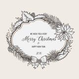 葡萄酒圣诞节贺卡 新年好 免版税库存照片