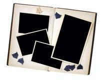 葡萄酒在一本书与照片角落,赠送阅本温泉的照片框架 库存图片