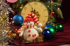 葡萄酒在圣诞树的背景的新年雪人 免版税图库摄影
