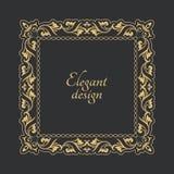 葡萄酒在巴洛克式的样式的金框架 装饰古老装饰品 文本的花长方形形状 下载例证图象准备好的向量 库存图片