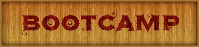 葡萄酒在方形的木盘区背景的字体文本BOOTCAMP 库存图片