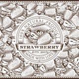 葡萄酒在无缝的样式的草莓标签 图库摄影