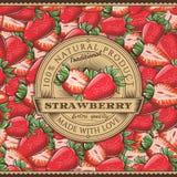 葡萄酒在无缝的样式的草莓标签 库存图片