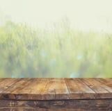 葡萄酒在梦想和抽象风景前面的木板桌与透镜火光 免版税库存图片
