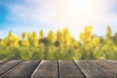 葡萄酒在梦想和抽象yello前面的木板桌 库存照片