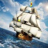 葡萄酒在海的帆船在清楚的天空下 3d例证 库存图片