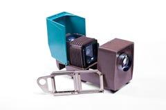 葡萄酒在白色背景的filmstrip放映机 库存图片