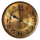 葡萄酒在白色背景隔绝的大座钟clockface 库存照片