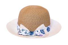 葡萄酒在白色背景隔绝的妇女帽子 库存照片