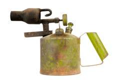 葡萄酒在白色背景隔绝的煤油小型发焰装置 免版税图库摄影