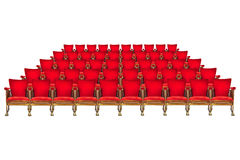 葡萄酒在白色隔绝的戏院椅子五行  免版税库存图片