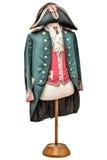 葡萄酒在白色隔绝的拿破仑服装 免版税库存照片