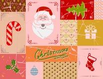 葡萄酒在红颜色的圣诞卡 免版税库存照片