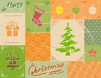 葡萄酒在绿色的圣诞卡 免版税库存图片