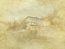 葡萄酒在老纸背景的假日卡片 梅利尼克传统建筑学,保加利亚街道视图 住宅,欧洲 库存照片