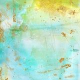 葡萄酒在薄菏、绿松石、黄色和金子的背景纹理 Artsy漂泊样式 免版税库存照片