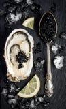 葡萄酒在黑板岩的生来有福用黑鲟鱼鱼子酱和牡蛎向背景扔石头 顶视图,平的位置,拷贝空间 免版税图库摄影
